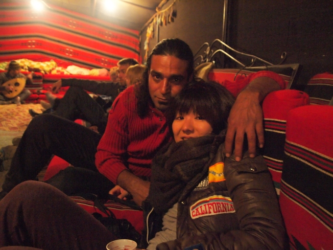 atef and minako in the bedouin tent