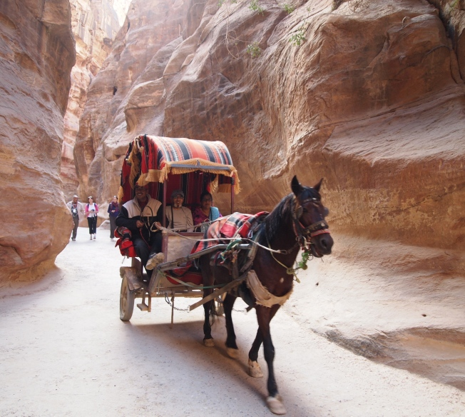 A carriage barrels through As Siq