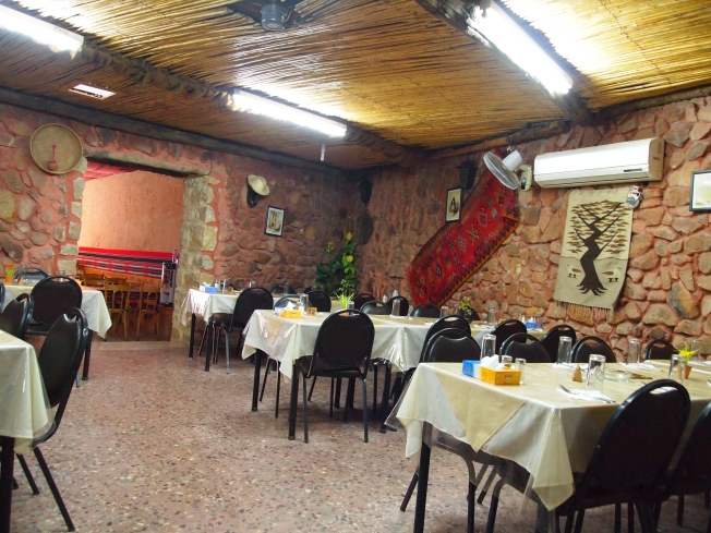 inside the Red Cave Restaurant in Wadi Musa