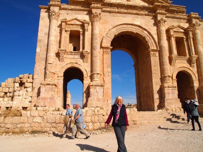 Me at Hadrian's Arch at Jerash