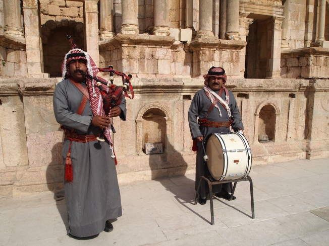 Musicians in the theater at Jerash