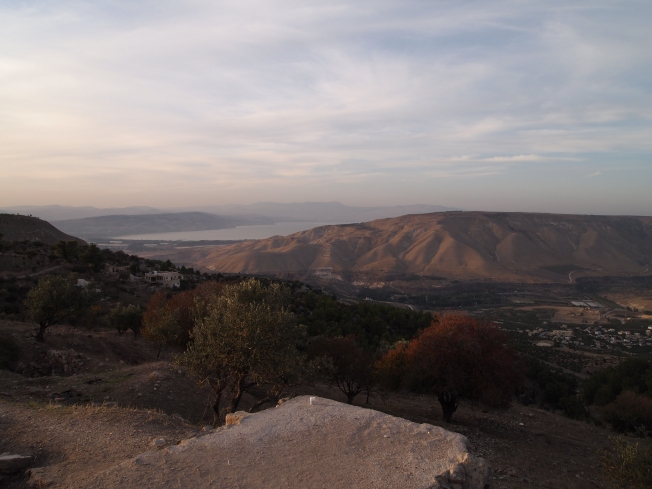 the view from Umm Qais ~ the Golan Heights, Sea of Galilee, and Palestine