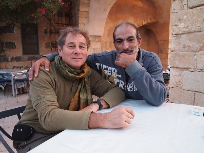 Guido and Khaled at the Umm Qais Restaurant