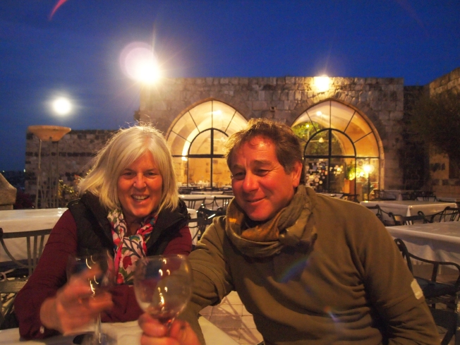 me with Guido drinking wine at Umm Qais